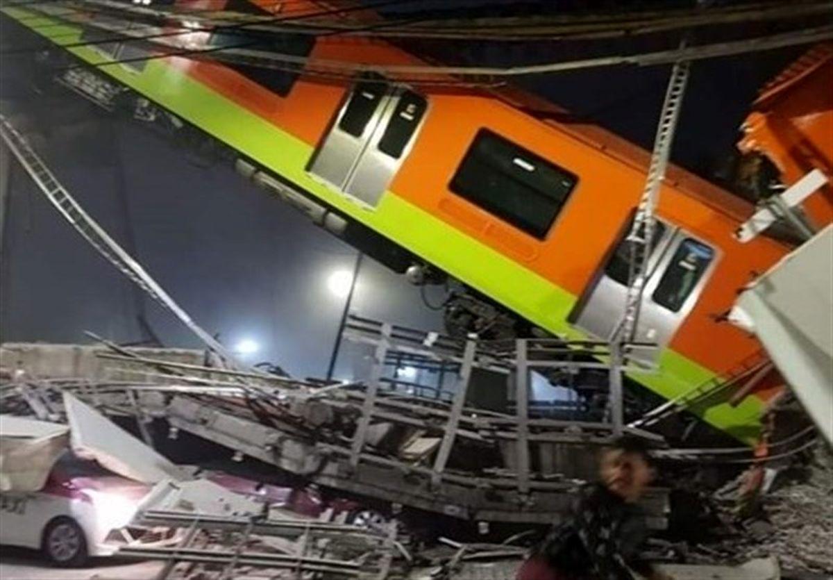 ریزش پل هنگام عبور قطار در مکزیکوسیتی + فیلم