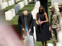 بازدید دونالد ترامپ و همسرش از قبرستان ملی آمریکا +فیلم