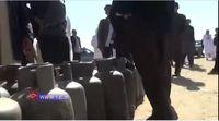 صفهای طولانی مردم زاهدان برای تهیه کپسول گاز مایع +فیلم