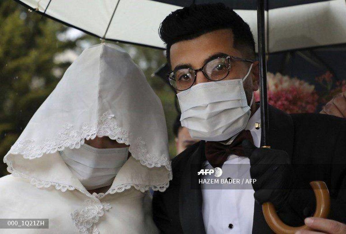 جشن عروسی زوج فلسطینی در روزگار کرونا +عکس