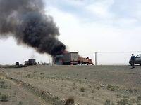 راننده تریلی در آتش سوخت