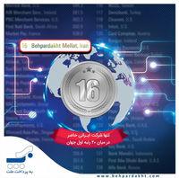به پرداخت ملت شانزدهمین شرکت پرداخت الکترونیک جهان