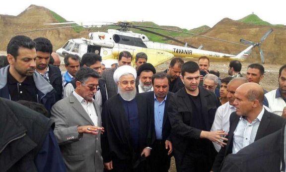 بازدید روحانی از مناطق سیلزده استان لرستان و ایلام