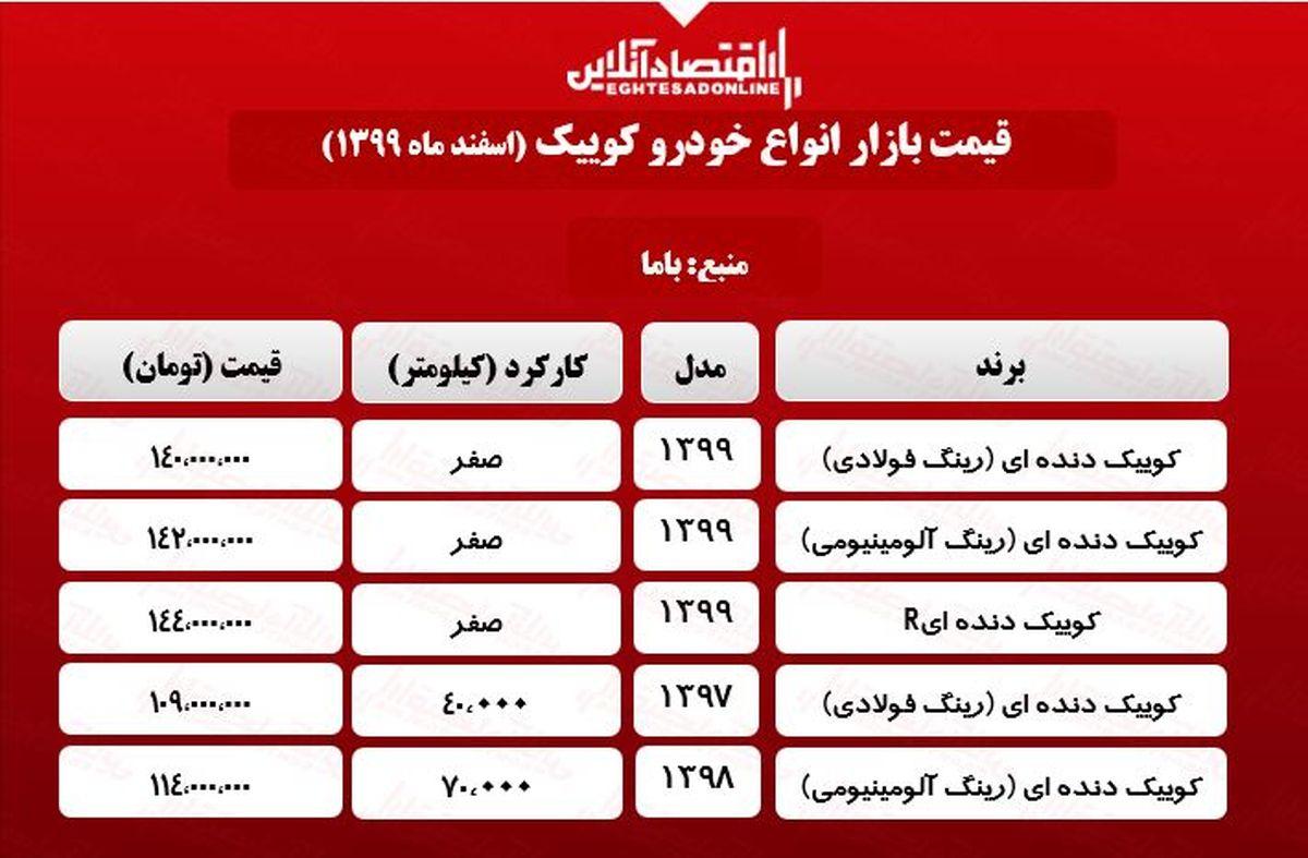 قیمت خودرو کوییک در پایتخت +جدول