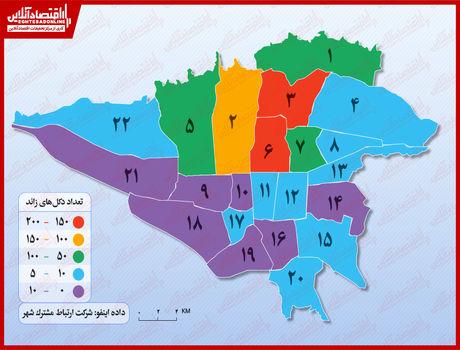 در کدام مناطق تهران دکلهای مخابراتی زائد بیشتر است؟