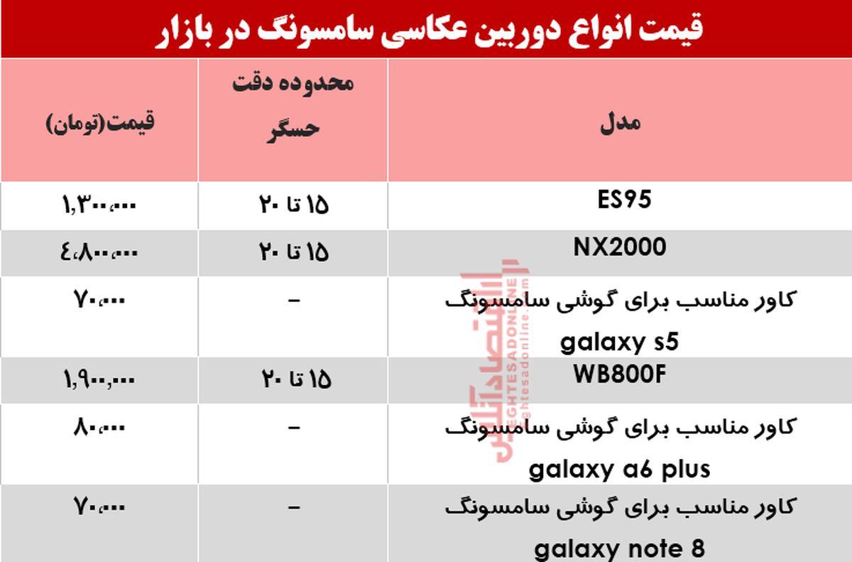 نرخ انواع دوربینهای عکاسی سامسونگ در بازار؟ +جدول