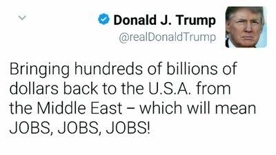 توییت ترامپ درباره فروش سلاح به عربستان +تصویر