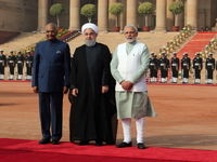 مراسم استقبال رسمی رییس جمهور هند از روحانی