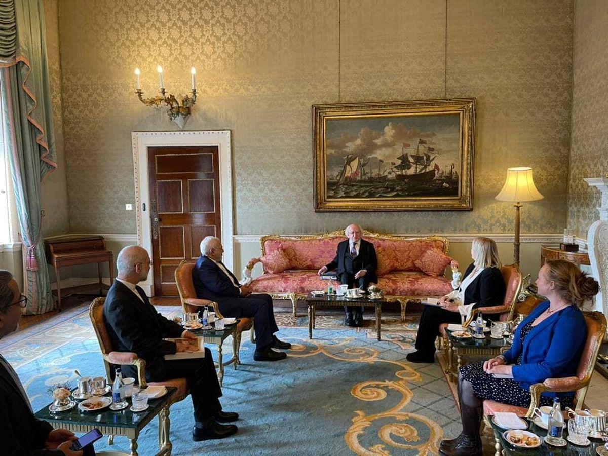 دیدار و رایزنی ظریف با رییس جمهور ایرلند