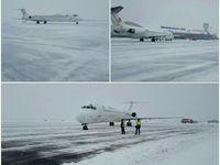 علی رغم بارش ۱۰ سانتی متری برف، پروازهای فرودگاه تبریز انجام شد