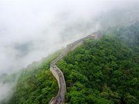 نمای هوایی دیوار چین درمیان مه و باران +عکس