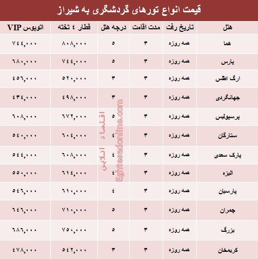 مظنه تورهای زمستانی شیراز؟ +جدول