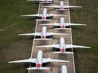 زمینگیر شدن هواپیماهای مسافربری در آمریکا +عکس
