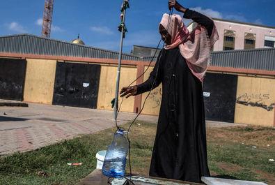 پناهجویان سودانی در اردوگاه لیبی