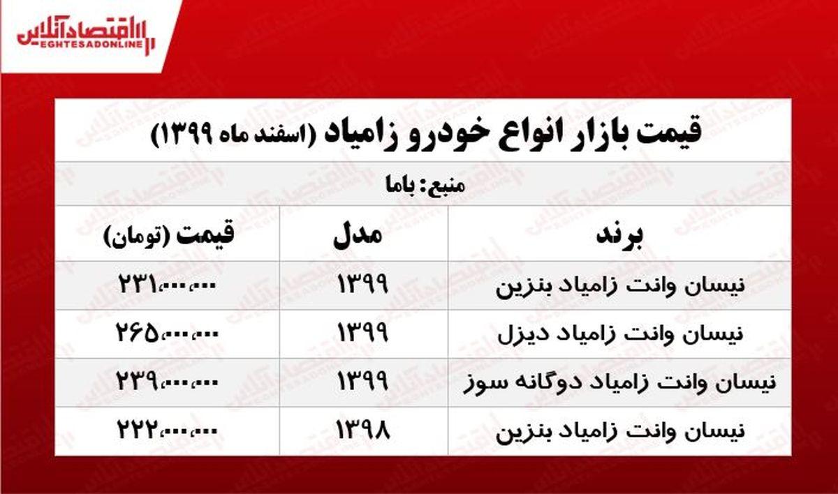 قیمت نیسان آبی در هفته سوم اسفند +جدول