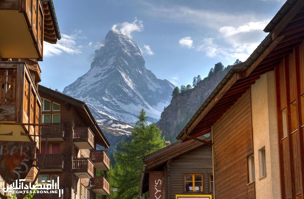 منظره کوهستانی سوئیس و ایتالیا.