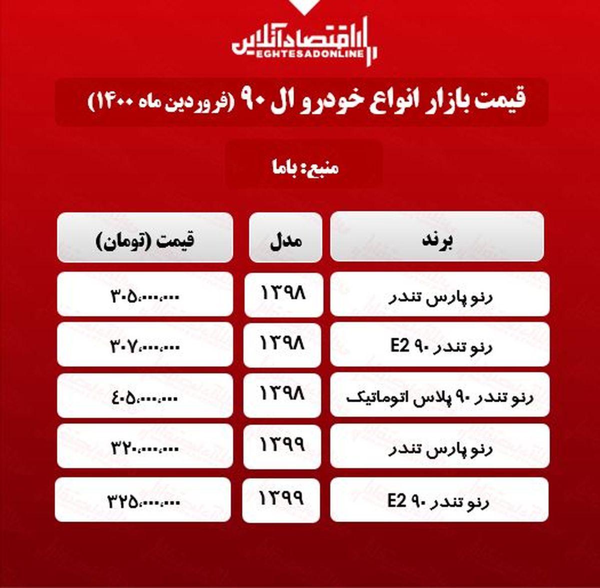 قیمت خودرو ال ۹۰ در بازار پایتخت +جدول