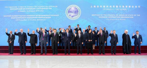 عکس یادگاری روحانی و سران ۱۱کشور حاضر در اجلاس شانگهای