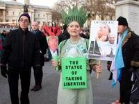 راهپیمایی اعتراضی علیه دونالد ترامپ در مرکز لندن