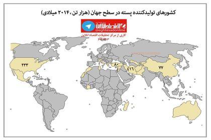 بزرگترین کشورهای تولیدکننده پسته در جهان +اینفوگرافیک