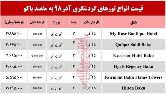 تور باکو آذربایجان چند تمام میشود؟