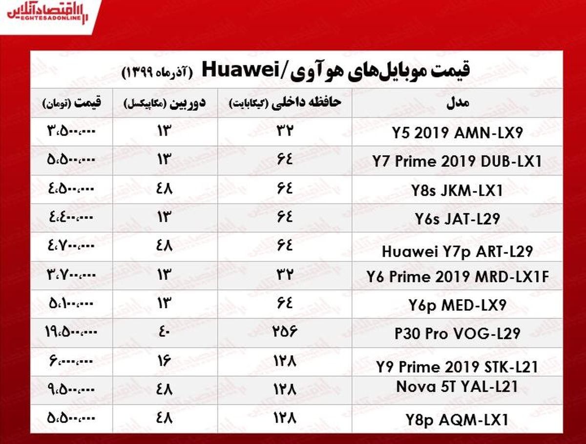 قیمت موبایل هوآوی در بازار تهران +جدول