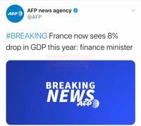 کاهش ۸درصدی تولید ناخالص داخلی فرانسه در سال۲۰۲۰