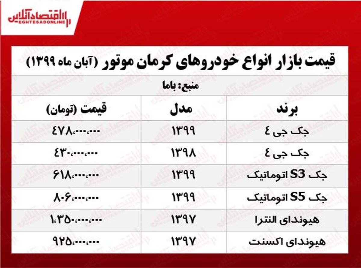 قیمت خودروهای کرمان موتور +جدول