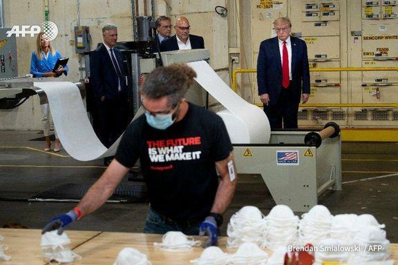 بازدید ترامپ از یک کارخانه ماسک در فینیکس +عکس