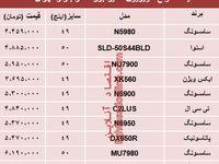 مظنه انواع تلویزیون سایز بزرگ دربازار تهران؟ +جدول