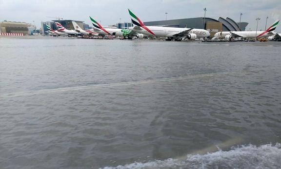 سیل در شهر و فرودگاه دبی