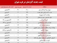 قیمت آپارتمان در غرب تهران +جدول