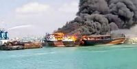 در گناوه لنجی درگیر آتش شد