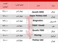 پرفروشترین انواع روغن موتور خودرو چند؟ +جدول