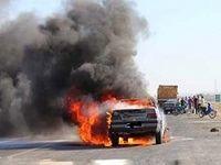 راننده خودرو زنده در آتش سوخت