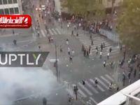 درگیری هواداران و پلیس فرانسه پس از قهرمانی +فیلم