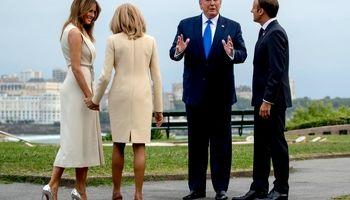 استقبال ماکرون و همسرش از ملانیا و دونالد ترامپ +فیلم