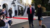 سیاه پوشی ملانیا ترامپ هنگام ترک کاخ سفید +عکس