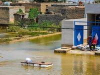 ورود سیلاب به غرب اهواز +عکس