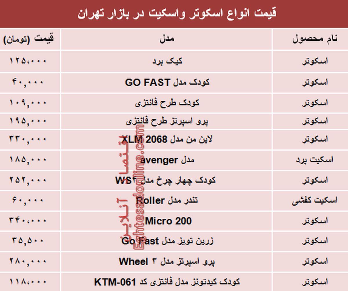 نرخ انواع اسکوتر و اسکیت در بازار تهران؟ +جدول