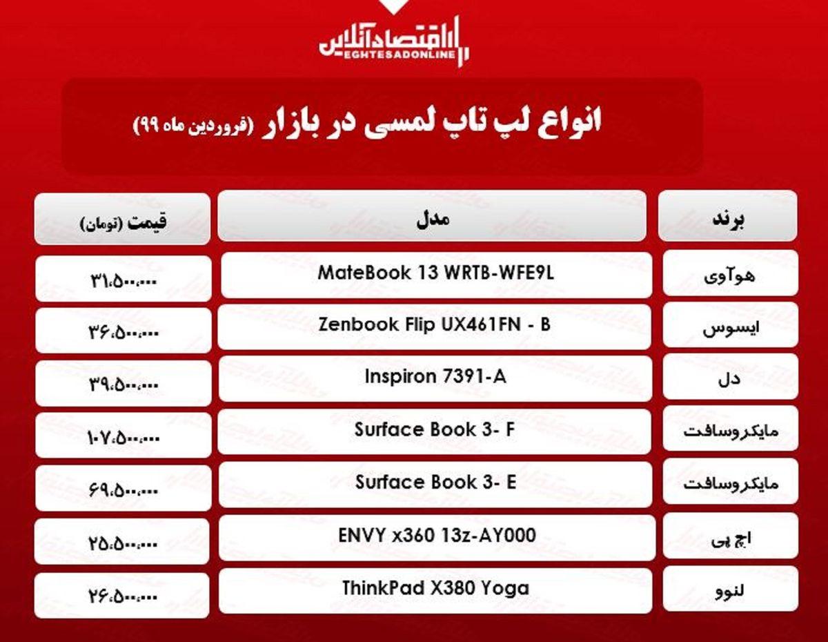 قیمت روز انواع لپ تاپ لمسی / ۳۱فروردین