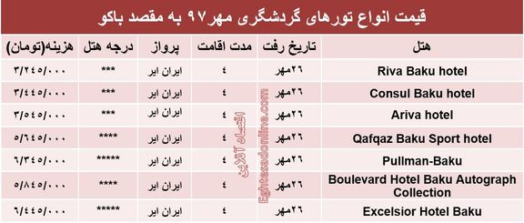 قیمت تور باکو در مهرماه97