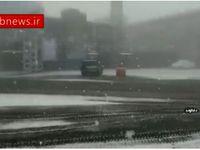 بارش برف در محور هراز محدوده امام زاده هاشم +فیلم