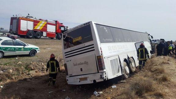 9مصدوم بر اثر واژگونی یک دستگاه اتوبوس
