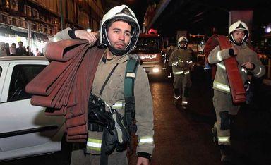 مانور اطفاء حریق در بازار علاءالدین