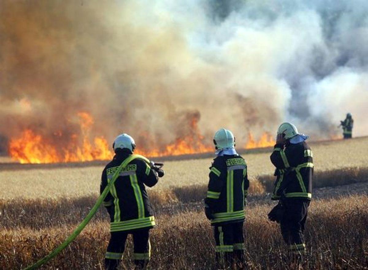 آتشسوزی در چندین هکتار از پسماندهای کشاورزی «پلدختر»