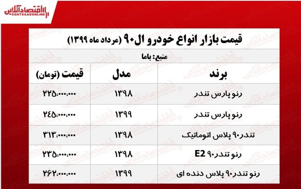 قیمت روز خودرو ال ۹۰ +جدول