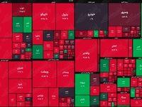نقشه بورس امروز بر اساس ارزش معاملات/ همان سرخی همیشگی