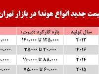 قیمت انواع هوندا در بازار تهران +جدول
