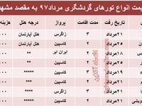 هزینه سفر به مشهد در مرداد۹۷ +جدول